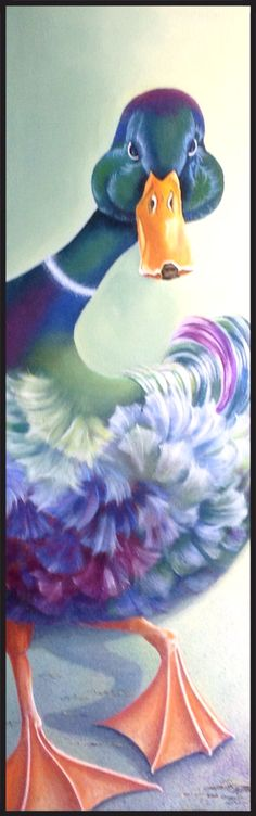 Eend ; Let's Disco!!!!!!  Acryl op doek, 30 x 100 cm.
