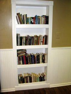 Built in Bookcase Door Understairs Storage bookcase Built Door Hallway Storage, Bookcase Storage, Bookshelves Built In, Stair Storage, Built Ins, Diy Bookshelf Wall, Bookcase Door, Bookshelf Ideas, Book Shelves