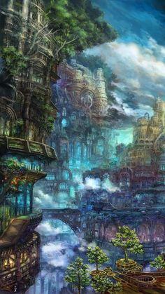 iPhone wallpaper - Isabelle Hansmann - #Hansmann #iphone #Isabelle #Wallpaper Fantasy Setting, Fantasy Castle, Fantasy City, Fantasy Places, Fantasy World, Fantasy Art Landscapes, Fantasy Landscape, Landscape Art, Beautiful Landscapes