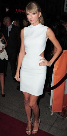 Look of the Day › September 10, 2013 WHAT SHE WORE Also at the star-studded Toronto Film Festival, Swift hit the One Chance premiere in a custom Calvin Klein Collection white dress with side cutouts and Cathy Waterman jewelry.