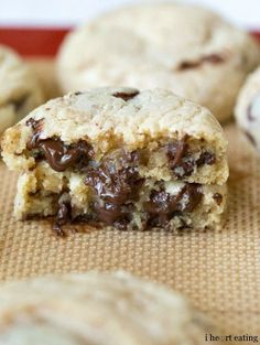 Coconut Oil Chocolate Chunk Cookies   http://www.ihearteating.com   #coconutoil #chocolatechipcookie #recipe
