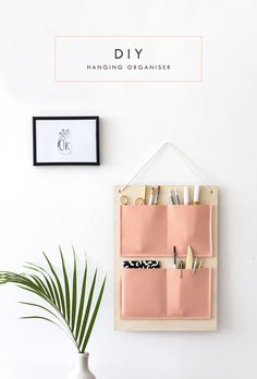 diy hanging organizer - in a gorgeous shade of peachy pink