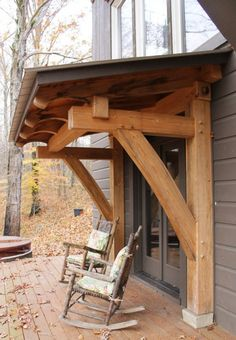 Timber Frame door hood - not structural add on to existing building. My pergola? Traditional Porch, Decks And Porches, Front Porches, Back Doors, Exterior Design, Outdoor Living, New Homes, Timber Frames, Timber Frame Garage