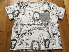 dd636f28d579f Tee shirt Zara Baby 6-9 mois blanc avec imprimé animaux