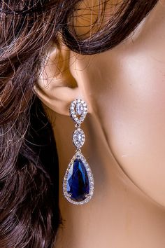 Crystal Bridal Earrings, Cubic, Zircon Long Heavy Dangling Earrings Vintage Queen Wedding Jewelry. Dark Blue. STl1