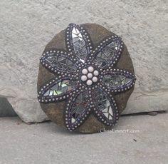 Mirror Flower Mosaic  / Garden Stone by ChrisEmmertMosaic on Etsy