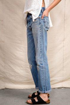 Vintage Levi's jeans & Birkenstocks.