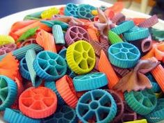 "Rainbow ""wheel"" pasta art!"