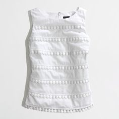 Factory pom-pom tank ($15) ❤ liked on Polyvore featuring tops, tanks, tiered tank, embellished tank, white cotton tops, white top and layering tanks