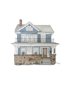 Home Decor Ideas Bedroom .Home Decor Ideas Bedroom House Sketch, House Drawing, House Illustration, Watercolor Illustration, Illustrations, Cute House, Aesthetic Art, Unique Home Decor, House Painting