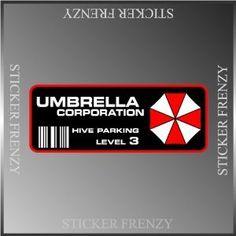 "Resident Evil Umbrella Corp. Parking Decal Vinyl Decal Bumper Sticker 2""x5"" StickyChimp http://www.amazon.com/dp/B00F7GYU3A/ref=cm_sw_r_pi_dp_7dNMwb07MN54W"