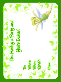 Printable Tinkerbell Invitations Free 2017