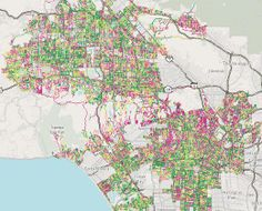 Nevermind the horrible traffic in Los Angeles, where it takes a several hours to get somewhere when it should only take thirty minutes. The road quality isn't so great either. Using data from the Los Angeles Bureau of Street Services, which scores street segments on a 100-point graded scale, Ben Poston and Ben Welsh for The Los Angeles Times mapped road quality in the city.