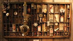 """Curio Cabinet  - thinking about my """"scrapping"""" stuff with Chris's collectible stuff.  hmmm...."""