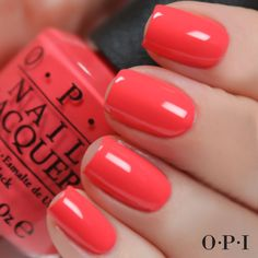 Coral gel nails, bright coral nails, bright nail polish, opi polish, na Bright Coral Nails, Coral Gel Nails, Bright Nail Polish, Opi Nail Colors, Opi Nail Polish, Opi Nails, Bright Colors, Bright Colored Nails, Nail Colour