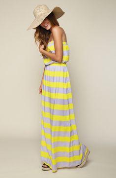 'Magnolia' Stripe Strapless Maxi Dress