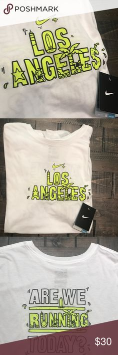 NWT NIKE DRI-FIT T-SHIRT XXL LOS ANGELES BRAND NEW NIKE DRI-FIT T-SHIRT SIZE XXL 100% AUTHENTIC.   ONE OF EACH SIZE IS AVAILABLE.   SHIPS SAME OR NEXT DAY FROM MY SMOKE FREE HOME.   REASONABLE OFFERS WILL ONLY BE CONSIDERED THROUGH THE OFFER BUTTON. ANY OFFERS IN COMMENTS WILL BE IGNORED.   BUNDLE DISCOUNT SUBJECT TO MY APPROVAL. ✨   TRUSTED RELIABLE SELLER. ALL PRODUCT IS 100% AUTHENTIC & DIRECT FROM NIKE Nike Shirts Tees - Short Sleeve