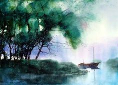 Z L Feng Watercolor Art, Art Painting, Landscape Paintings, Artist Inspiration, Tree Painting, Art, Watercolor Landscape, Abstract City, Beautiful Art