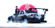 This HD wallpaper is about women's black leather jacket, Khyzyl Saleem, car, Nissan Original wallpaper dimensions is file size is Nissan 240sx, Drifting Cars, Car Illustration, Japan Cars, Futuristic Cars, Car Drawings, Automotive Art, Car Tuning, Modified Cars