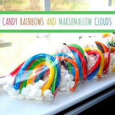 rainbow and marshmallow clouds