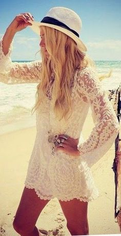 Lace Beach Bikini Cover-up love the hat