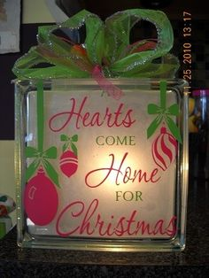 All Hearts Come Home for Christmas Lighted Glass Block