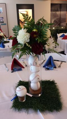 Baseball Themed Wedding Table Centerpiece! So cute!