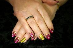 Nails with glitter and bindis #glitter #bindi #nailart #moleenddesign