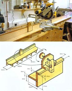 Miter Saw Table Plans - Miter Saw Tips, Jigs and Fixtures | WoodArchivist.com