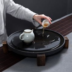 石磨粗陶茶盘圆形陶瓷茶海茶台功夫茶具套装大号壶承储水蓄水排水 ~ 34USD