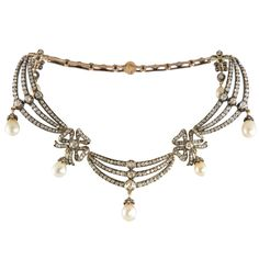 1STDIBS.COM Jewelry & Watches - Highly Prized Victorian Natural Pearl & Diamond Necklace - Sheila Goldfinger Antiques & Estate Jewelry