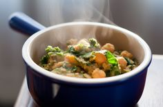 """Lentils, garbanzos and greens.  """"Stephens healthy lentil bowl"""" as Ashley from Never Homemaker calls it!   This was a cheap, easy, filling, low carb, high protein meal. Tristan and I loved the spices it used. We about doubled it almost to make sure we had leftovers for Tristan's lunch."""
