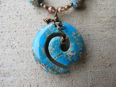 """Necklace 18"""" plus 2 dangle  Blue Sky Jasper with by LisasLocalColor, $35.00"""