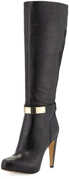 Sam Edelman Klara Golden Plate Detailed Dress Boot, Black