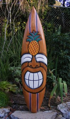 Happy Tiki Pineapple tropical Wood Surfboard Sign Wall Plaque Tiki Bar 38""