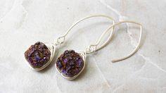 Red-Purple Druzy Quartz Beaded Earrings | Handmade Silver Geode Dangle Earrings