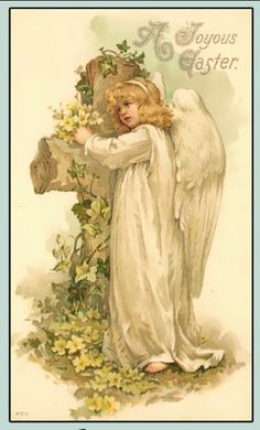 Shop A Joyous Easter Angel Vintage Easter Poster created by easterfun. Holiday Postcards, Vintage Postcards, Vintage Cards, Vintage Gifts, Retro Vintage, Vintage Easter, Vintage Holiday, Images Victoriennes, Illustrations Vintage