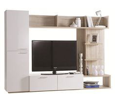 Livings - Meuble TV ARENA Blanc et Chêne brossé