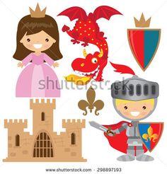 Medieval knight,princess and dragon vector illustration