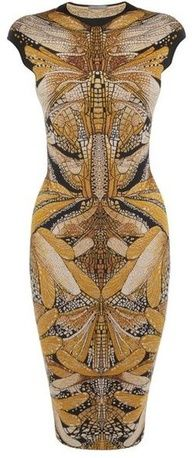 ALEXANDER MCQUEEN  Black yellow Dragonfly Jacquard Pencil Dress Oh so #artdeco  I want this www.finditforweddings.com