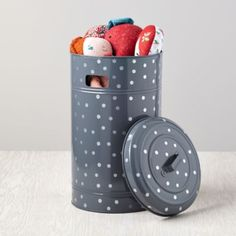 Put a Lid on It Floor Bin from Land of Nod (as a garbage can) Kids Closet Storage, Kids Storage Bins, Toy Storage, Extra Storage, Storage Containers, Storage Baskets, Kids Toy Boxes, Land Of Nod, Kid Spaces
