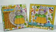 Art Impressions Rubber Stamps:  Kate (sku 4113) Handmade Easter card.  Bunny Rabbit.