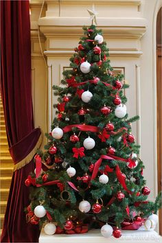 White Christmas Tree Decorations, Blue Christmas Decor, Unique Christmas Trees, Woodland Christmas, Xmas Tree, Winter Christmas, Crismas Tree, Christmas Tree Inspiration, Traditional Christmas Tree