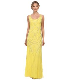 94f363249f Adrianna papell sleeveless fully beaded gown lemon drop