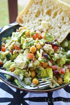 Mediterranean chopped salad - I use oil-free version of dressing