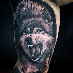 Rad wolf portrait done by @raidelbastattoos!! Call the shop to book with him!!
