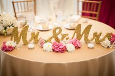 Gold Glitter Mr and Mrs Wedding Signs for Sweetheart Table Decor Wooden Letters, Large Thick Wood Mr & Mrs Sign Set (Item - Trendy Wedding, Fall Wedding, Wedding Reception, Our Wedding, Dream Wedding, Wedding Venues, Wedding Cakes, Wedding Table Decorations, Wedding Centerpieces