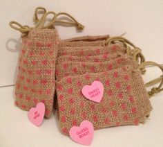 Styling Burlap Favor Bags by 2happygrlzdesign on Etsy, $8.99