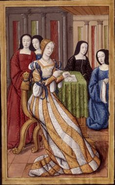 """Phyllis  writing  French 874, fol. 11v. Image #3 of 46.  The lady in gold & white stripes looks like she's wearing a court kirtle!! Notice that the ladies in the background are wearing typical Franco-flemish fashions, including the """"Anne of Brittany"""" style of hood. And yes, it is striped. I've only seen men wearing stripes before I found this image."""