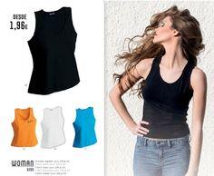 Camisetas serigrafiadas para mujer, de tirantas, en algodón 220grs y lycra, se adaptan perfectamente al contorno de la mujer actual. www.andaluzadeserigrafi.eu Telf. 955114744